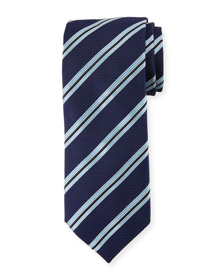 Canali Textured Stripe Silk Tie, Navy/Blue