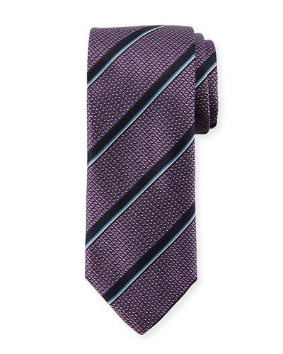 Satin Jacquard Striped Silk Tie, Purple