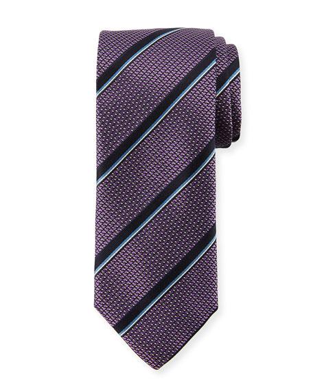 Canali Satin Jacquard Striped Silk Tie, Purple