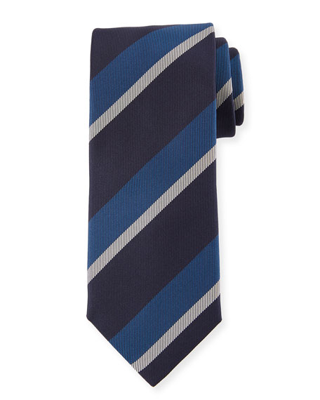 Canali Large Diagonal Stripe Silk Tie, Blue
