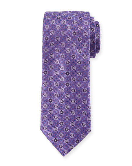 Woven Flowers Silk Tie, Purple