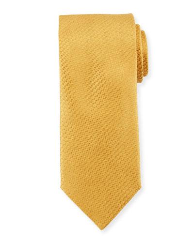 Textured Solid Silk Tie, Gold Yellow