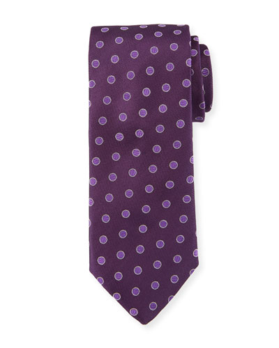 Textured Dot Silk Tie, Purple