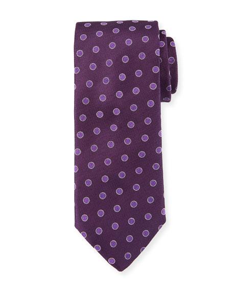 Canali Textured Dot Silk Tie, Purple