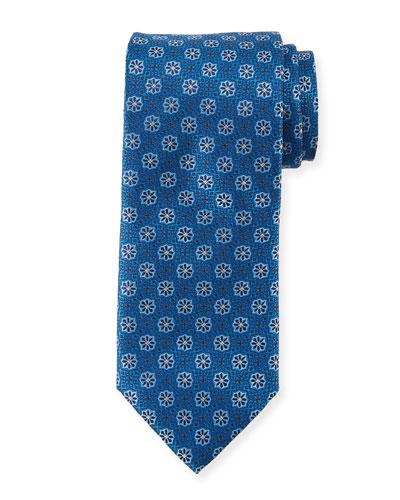 Woven Flowers Silk Tie, Blue