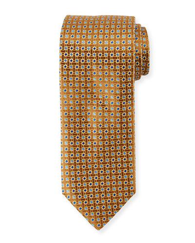 Lattice Box Silk Tie, Gold Yellow