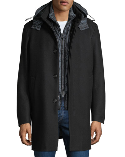 Men's 3-in-1 Wool Car Coat w/ Vest