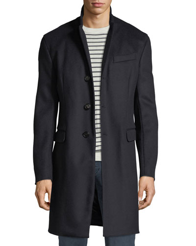 Men's Single-Breasted Wool Top Coat, Navy