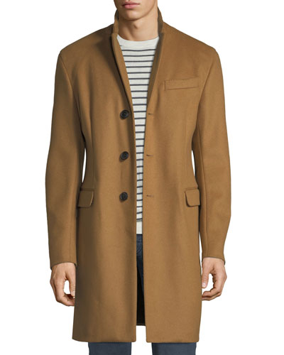 Men's Single-Breasted Wool Top Coat, Beige