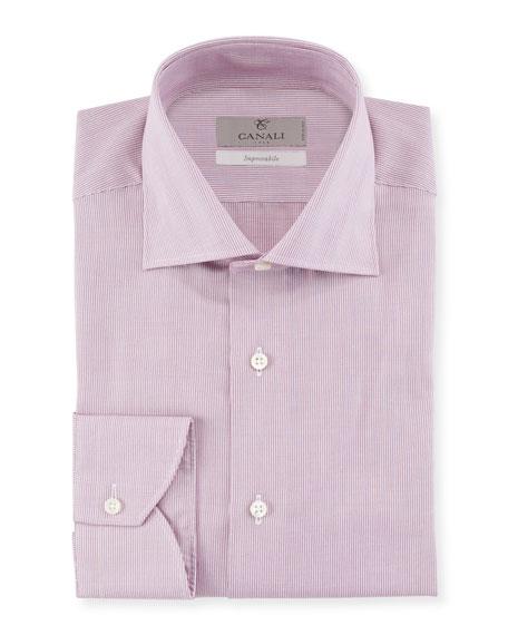 CANALI Men'S Micro Stripe Cotton Dress Shirt in Pink