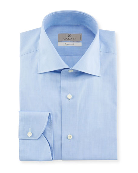 Canali Men's Impeccabile Solid Dress Shirt, Blue