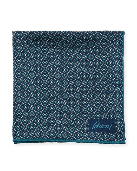 Brioni Crosses & Stars Silk Pocket Square
