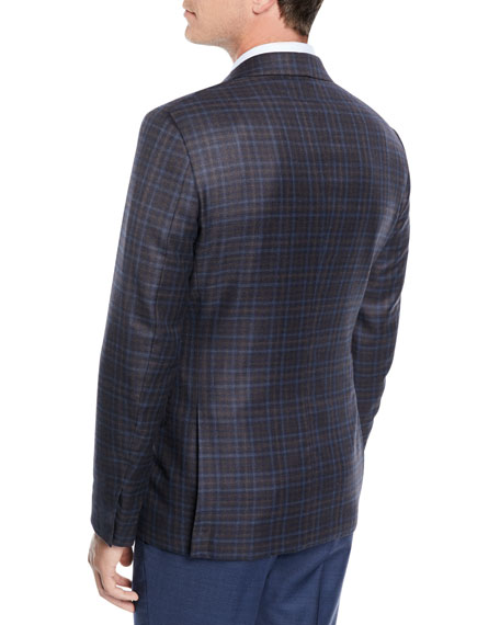 Men's Two-Tone Check Wool Jacket