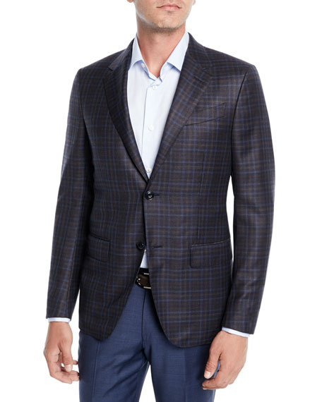 Ermenegildo Zegna Men's Two-Tone Check Wool Jacket