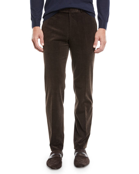 Men's Flat-Front Cotton/Cashmere Corduroy Trousers, Brown