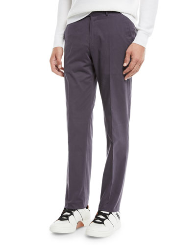Men's Twill Flat-Front Trousers, Purple