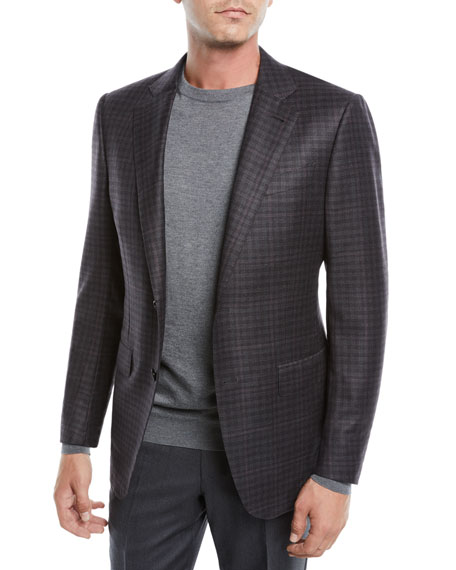 Men's Two-Button Check Wool Jacket