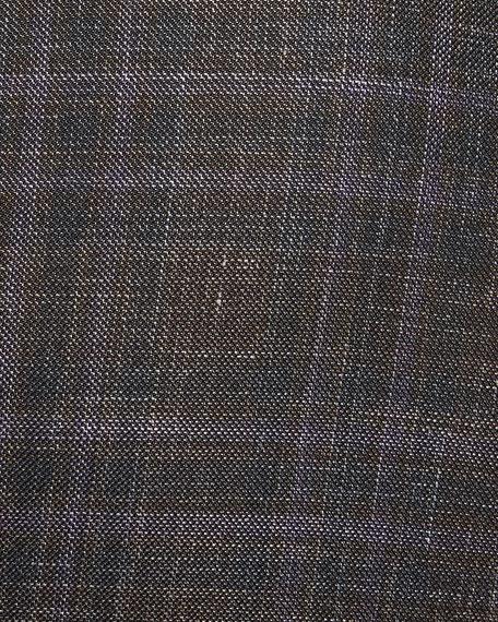 Men's Two-Tone Plaid Two-Button Jacket, Purple/Brown