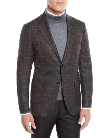 Men's Two-Tone Plaid Two-Button Jacket, Purple/Brown