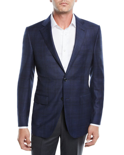 Men's Tonal Plaid Wool Jacket, Navy/Blue