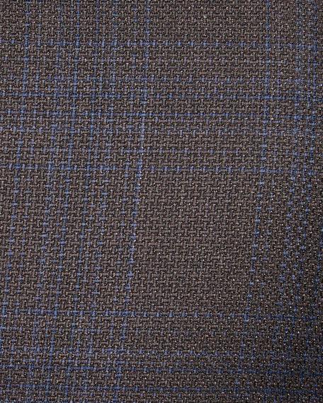 Men's Plaid Wool Jacket, Blue/Brown