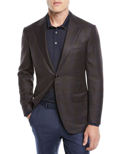 Men's Plaid Wool Jacket, Blue/Brown
