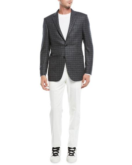 Men's Flat-Front Cotton/Cashmere Corduroy Trousers, White