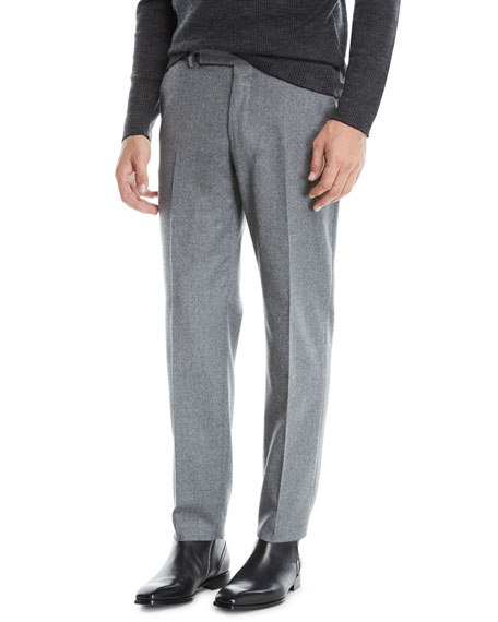 Ermenegildo Zegna Men's Melange Wool Straight-Leg Pants, Gray