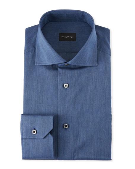 Ermenegildo Zegna Men's Solid Twill Dress Shirt, Dark
