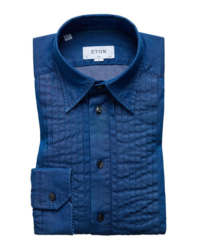 Men's Slim-Fit Denim Bib-Front Tuxedo Shirt