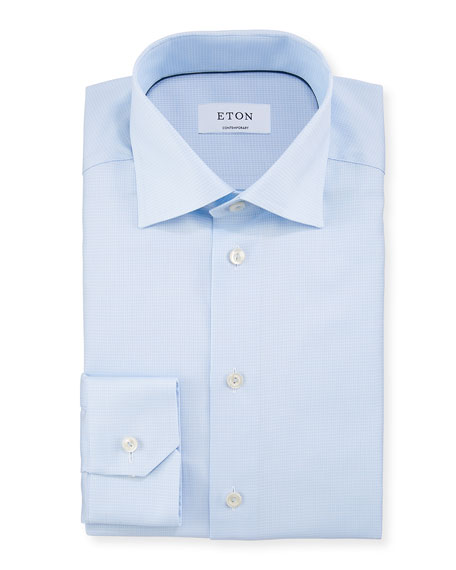 Eton Men's Contemporary Fit Box Textured Dress Shirt
