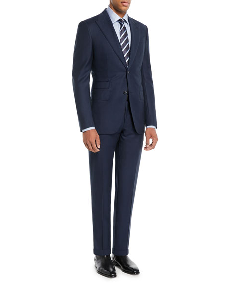 Men's Wool Solid Two-Piece Suit