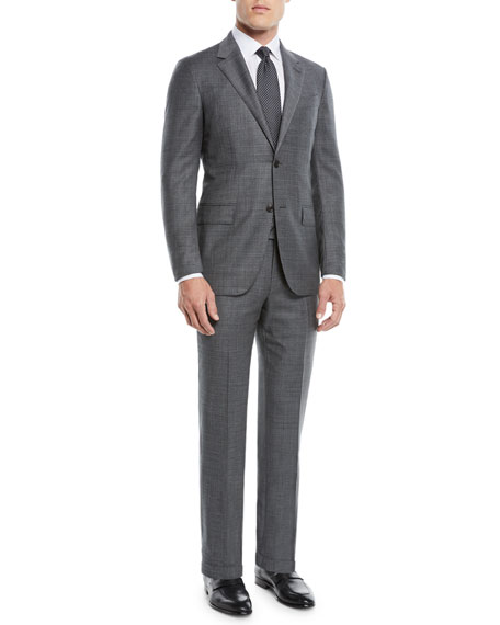 Men's Heathered Solid Two-Piece Suit