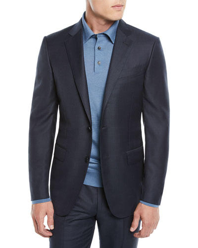 Men's Graph Check Two-Piece Wool Suit
