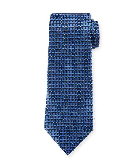 3D Box Silk Tie, Blue