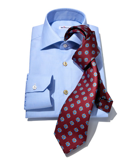 Men's Tonal Plaid Cotton Dress Shirt