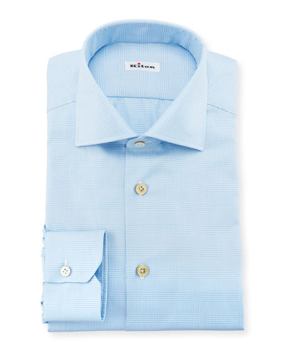 Men's Tonal Plaid Cotton Dress Shirt