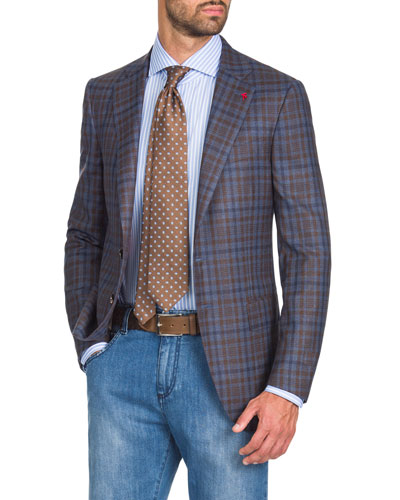 Men's Two-Tone Check Two-Button Jacket  Blue/Brown