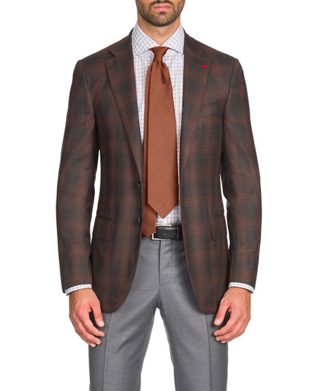 Isaia Men's Two-Tone Plaid Super 140s Wool Two-Button