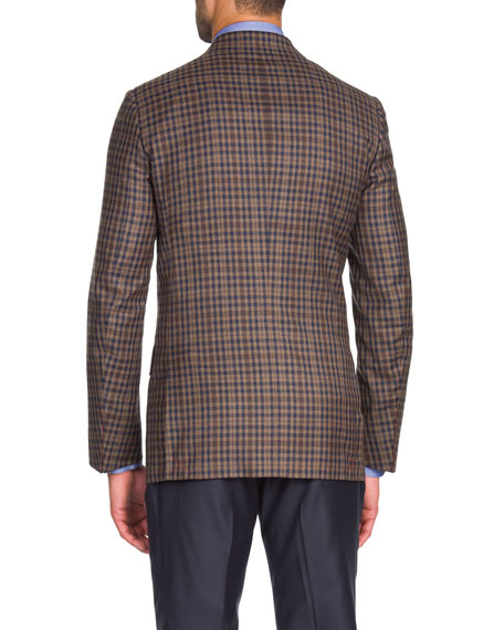 Men's Two-Tone Check Two-Button Jacket, Tan/Navy