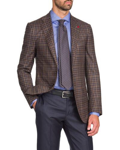 Men's Two-Tone Check Two-Button Jacket, Tan/Navy