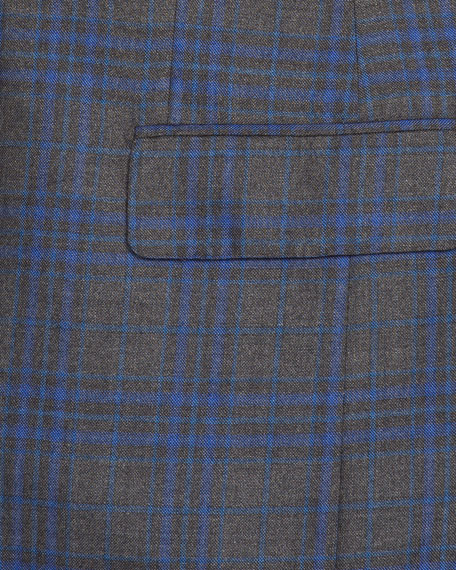 Men's Two-Tone Plaid Cashmere/Silk Two-Button Jacket