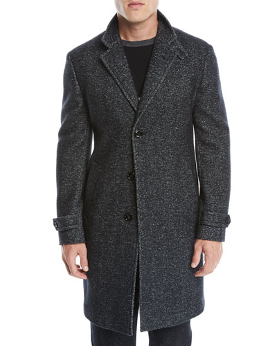 Men's Three-Button Herringbone Wool-Silk Coat
