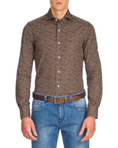 Men's Peacock Pattern Sport Shirt