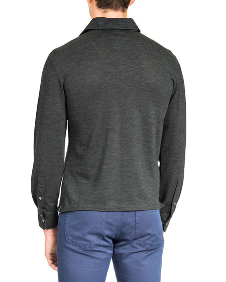 Men's Merino Wool Pique Long-Sleeve Pocket Shirt