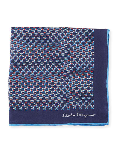 Solid Border Gancini Silk Pocket Square, Dark Blue