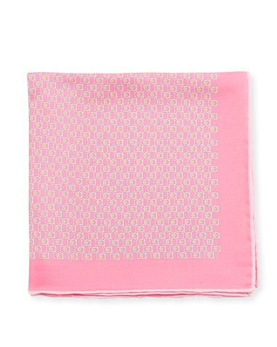 Fibbia Gancini Silk Pocket Square, Pink