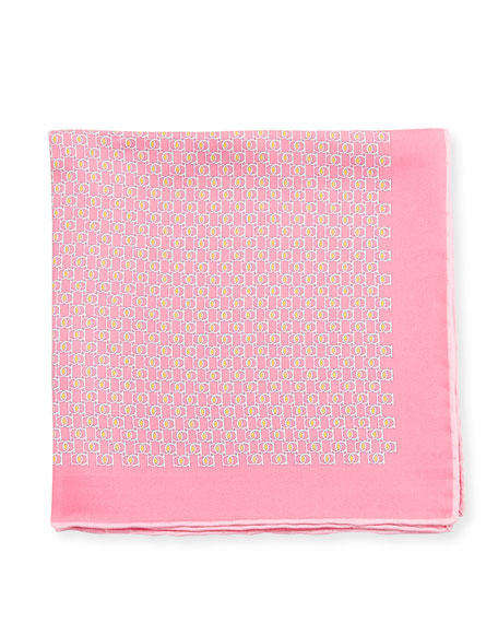 Fibbia Gancini Silk Pocket Square, Pink