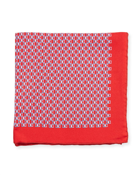 Salvatore Ferragamo Fibbia Gancini Silk Pocket Square, Red