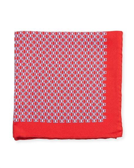Fibbia Gancini Silk Pocket Square, Red